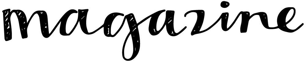 "The word ""magazine"" in hand drawn cursive lettering."
